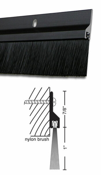 "Dark Bronze Anodized Aluminum with 1"" Brush Door Sweep 36"""