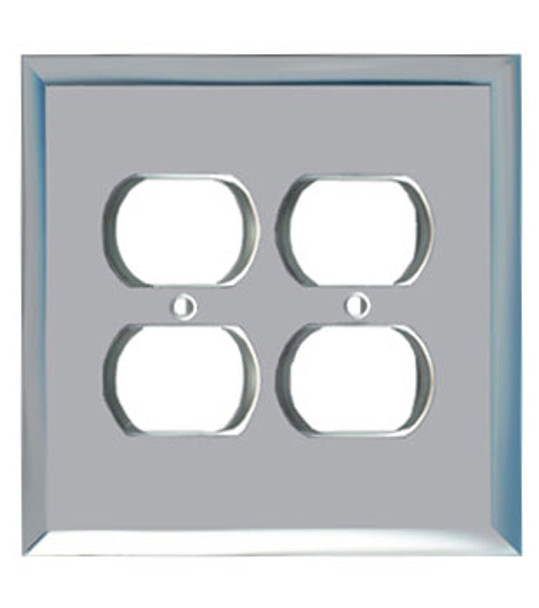 Double Duplex Glass Mirror Outlet Cover Plate