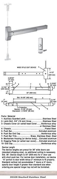 "Grade 1 CVR Panic Exit Device With Night Latch Lever Trim US32D 36"""