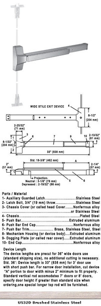 """Grade 1 Fire Rated CVR Panic Exit Device US32D Finish 36"""""""