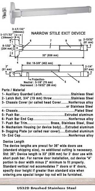 "Grade 1 Fire Rated Narrow Stile Push Bar Rim Panic US32D Finish 36"""