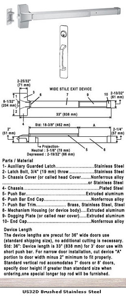 "Grade 1 Fire Rated Push Bar Rim Panic W/ Cylinder Pull Trim US32D 36"""