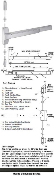 """Grade 1 Fire Rated Surface Rod Panic Exit Device US10B Finish 36"""""""