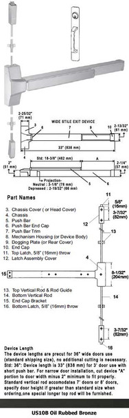 """Grade 1 Fire Rated Surface Rod Panic W/ Cylinder Pull Trim US10B 36"""""""