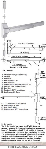 """Grade 1 Surface Rod Panic Exit Device US32D Finish 48"""""""