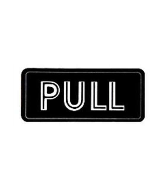 Horizontal - PULL - Decal Black with Silver Letters