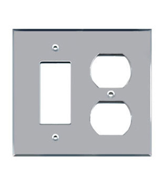 1 Decora + 1 Duplex Acrylic Mirror Outlet Cover Plate