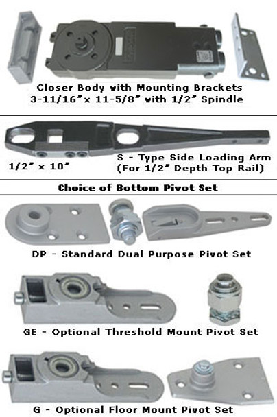 International 230 Medium Concealed Overhead Closer Kit - S Arm 105 HO