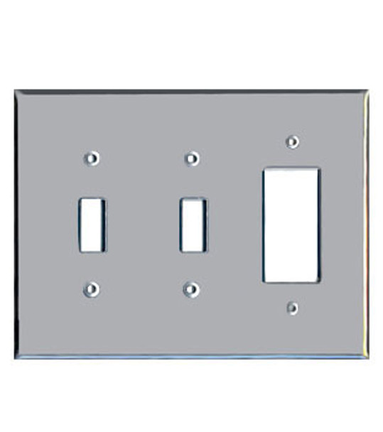 1 Decora + 2 Toggle Acrylic Mirror Outlet Cover Plate
