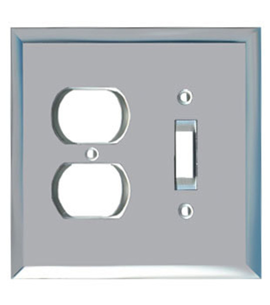 1 Duplex + 1 Toggle Glass Mirror Outlet Cover Plate