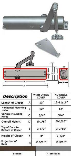 International 5052-P Adjustable ADA 5 lb Surface Mount Closer W/ P Arm