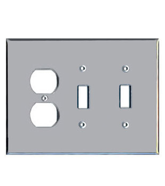 1 Duplex + 2 Toggle Acrylic Mirror Outlet Cover Plate