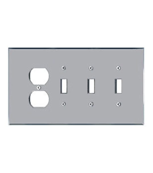 1 Duplex + 3 Toggle Acrylic Mirror Outlet Cover Plate