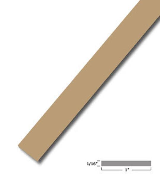 "1"" X .075"" Tan Vinyl Flat Bar Window Trim with Tape -12 ft Long"
