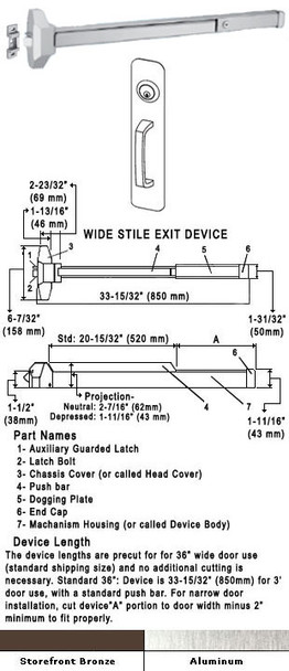 """Standard Push Bar Rim Panic Exit Device With Locking Pull Plate 36"""""""