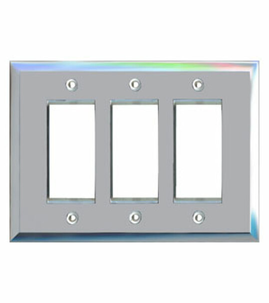 Triple Decora Glass Mirror Switch Cover Plate