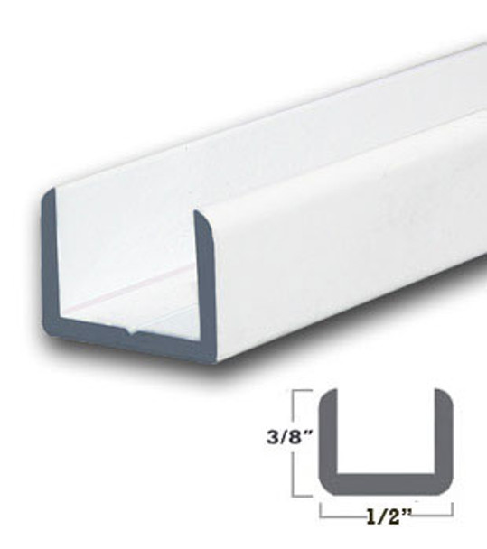 "White Finish Aluminum Shallow U-Channel for 3/8"" Glass 95"" Long"