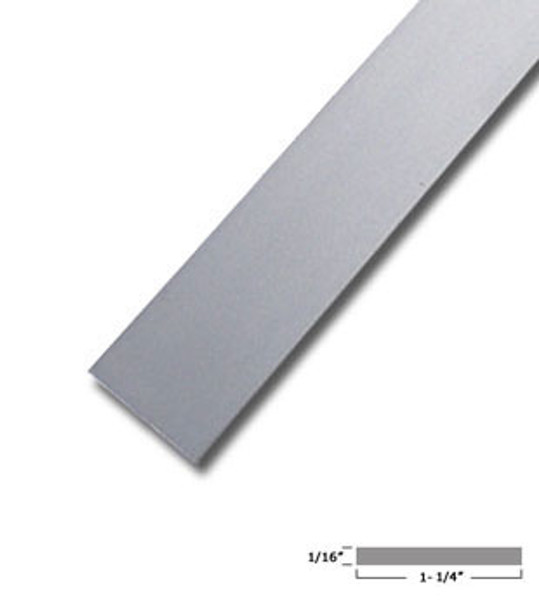 "1-1/4"" X 1/16"" Aluminum Flat Bar Satin Anodized Finish with Tape 95"""