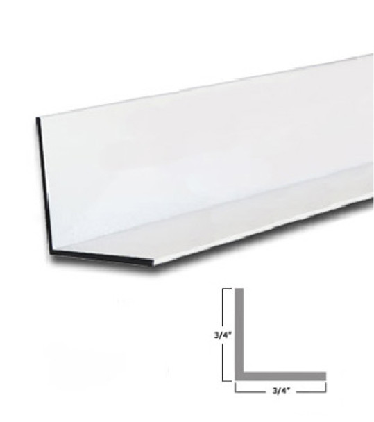 "3/4"" x 3/4"" x 3/64"" Aluminum Angle Bright White Powder Coat   Finish 47 7/8"""