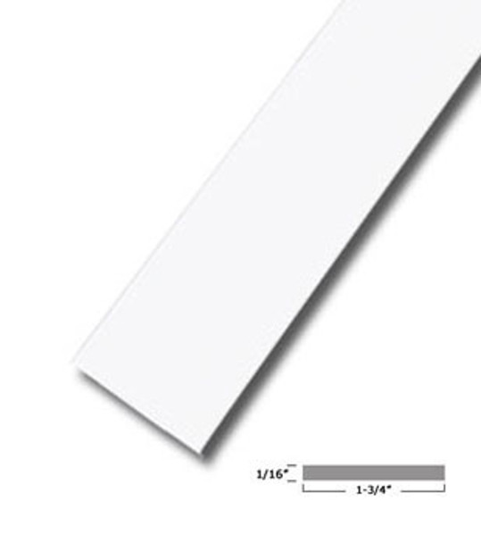 "1-3/4"" X 1/16"" Aluminum Flat Bar White Finish with Tape 95"" Long"