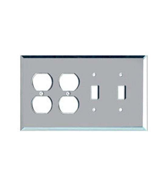 2 Duplex + 2 Toggle Glass Mirror Outlet Cover Plate