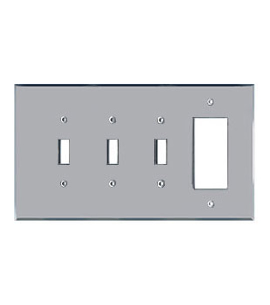 3 Toggle + 1 Decora Acrylic Mirror Outlet Cover Plate