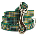 Plaid Dog Leash, Irish National Tartan, 4', 5', 6' Long, D-ring, Nylon