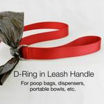 Sewn in D-ring in leash handle for poop bags, etc.