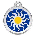 Tribal Sun Dog ID Tag, Blue & Yellow Enameling, Stainless Steel