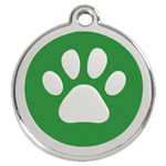 Dog Id Tag, Green Paw Print, Stainless Steel, Enameled