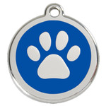 Paw Print Dog ID Tag, Blue Enameling, Stainless Steel Name Tag