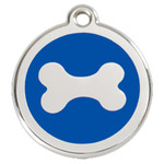 Bone Dog ID Tag, Blue Enameling, Stainless Steel name Tag