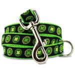 Irish Dog Leash, Celtic Knots & Clover, 4', 5', 6' Long, D-ring, Nylon
