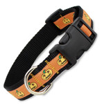 Orange Halloween Dog Collar, Quick Release Snap On Style Buckle, Jack-o-Lanterns, Adjustable
