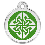 Tribal Dog ID Tag, Green Enameling, Stainless Steel Name Tag