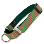 Gingham Martingale Collar, Green & Coral