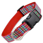 Scottish Plaid Dog Collar, Red Royal Stewart Tartan Quick Release Snap On Style Buckle
