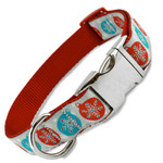 Christmas Dog Collar with Snowflakes, Quick Release metal Snap On Style Buckle, red, blue, silver, holiday, metal