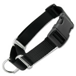Martingale Dog Collar with Buckle, Black Nylon