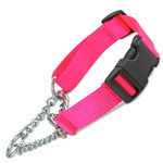 Martingale Dog Collar w/Chain Loop & Buckle, Half-Check Style, Hot Pink