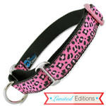 Cheetah Print Martingale Collar, Raspberry, pink and black animal print