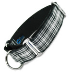"wide martingale collar, 1.5"" wide, Menzies tartan, black and white plaid"
