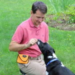 Dog treat bag pouch in use