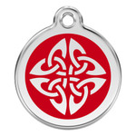 Tribal Dog ID Tag, Red Enameling, Stainless Steel Name Tag