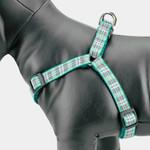 Preppy Puppy Plaid Dog Harness, Side View, black hardware