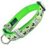 Martingale Dog Collar, Black Butterflies Nylon Slip-on collar, Lime Green nylon