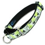 Martingale Dog Collar, Black Butterflies Nylon Slip-on collar, black nylon