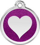 Purple heart glitter enameled Dog ID tag