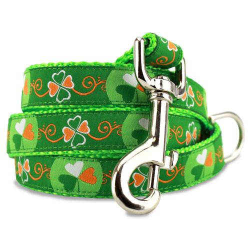 St Patrick Day Dog Leash, Irish, 4', 5', 6' Long, D-ring, Nylon