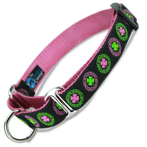 Irish Martingale Dog Collar, Celtic Knots and Pink Clover, Nylon, Limited Slip Dog Collar, Safety Collar